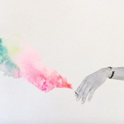 collage of an hand holding a cigarette with a rainbow smoke.